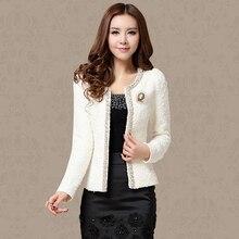 New 2016 Autumn Spring Coat Short Design Women Outerwear Elegant Beaded Diamond Slim Long Sleeve Plus Size Small Jacket XXXL