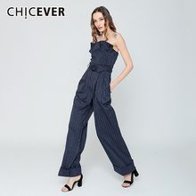 Chicever Zomer Casual Gestreepte Vrouwen Jumpsuit Strapless Off Shoulder Hoge Taille Sjerpen Zakken Lange Jumpsuits 2020 Fashion Nieuwe(China)