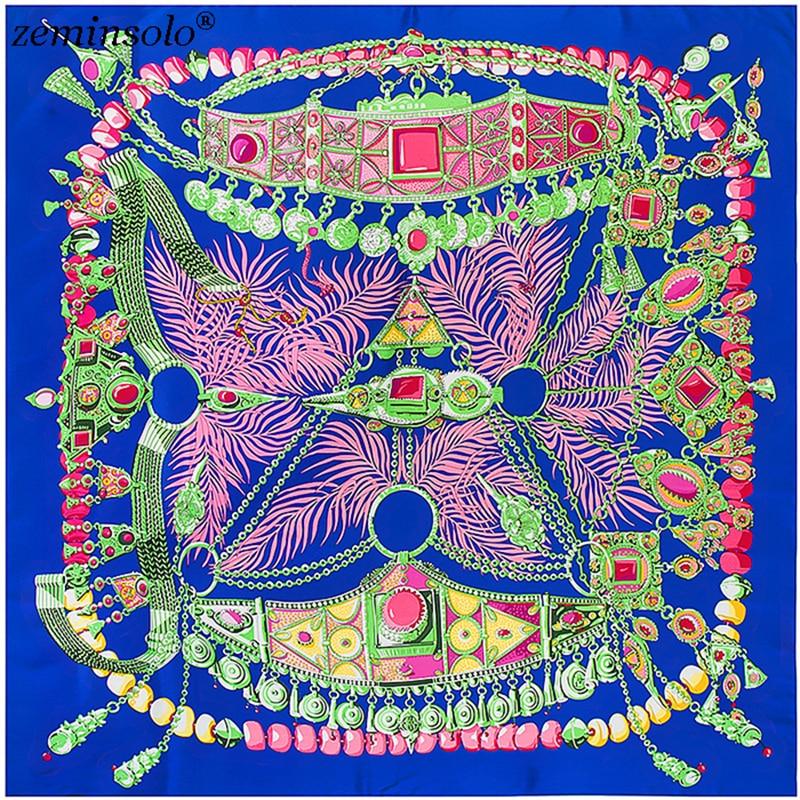 130x130 cm Besar Persegi Syal Sutra Dicetak Wanita Satin Halus Bandana Syal Modis Musim Semi Musim Gugur Kain Foulard Femme ...