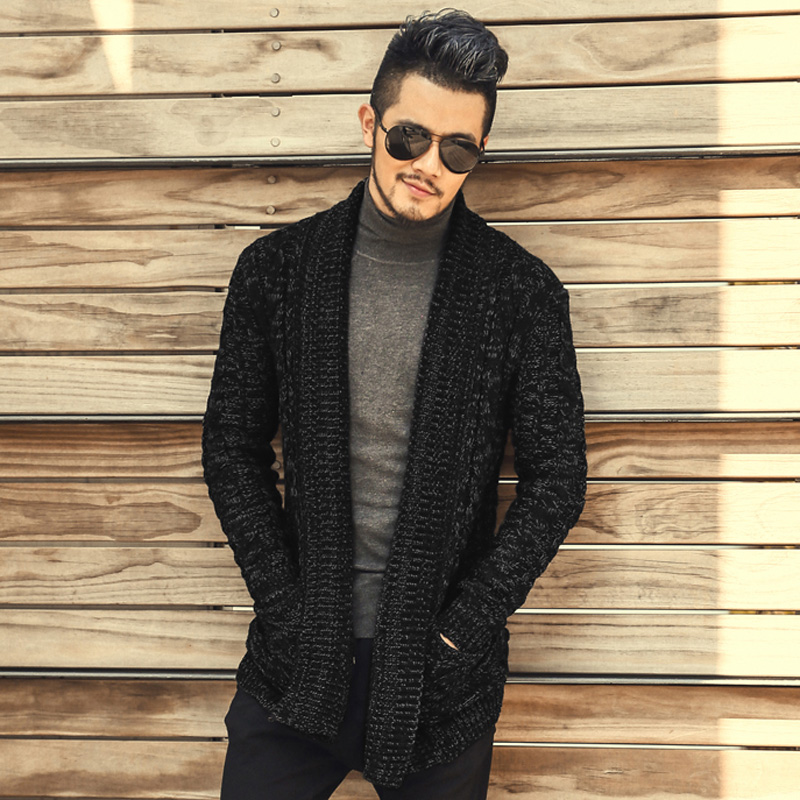 Long mens cardigans 2016 Autumn u0026 Winter Warm Thick lapel knitted mens oversized sweater coat ...