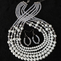Elegant White Shell Simulated Pearl Round Beads Glass Crystal High Grade 5 Rows Necklace Earrrings For