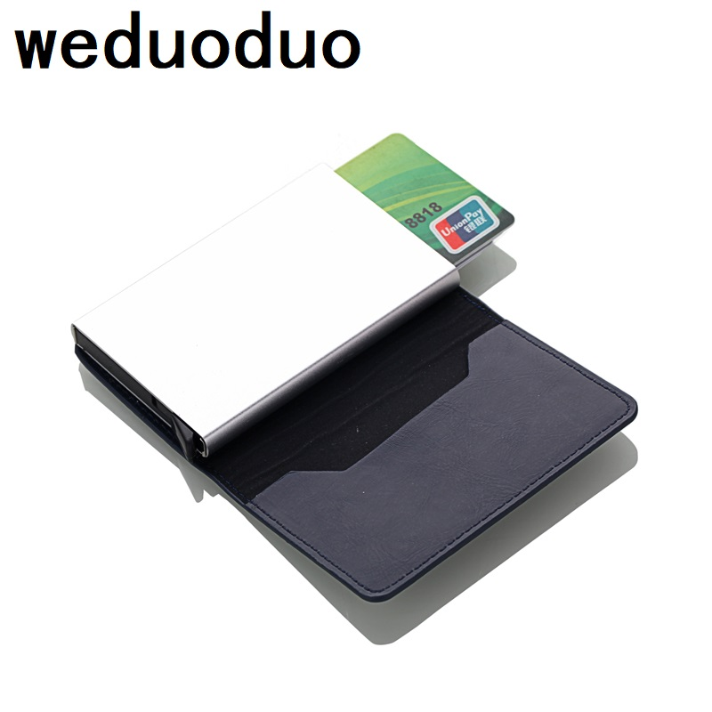 2019 Automatic PU Leather Credit Card Holder Man Aluminum Alloy Business ID CardHolder Male Slim Card Case Wallet for Men2019 Automatic PU Leather Credit Card Holder Man Aluminum Alloy Business ID CardHolder Male Slim Card Case Wallet for Men