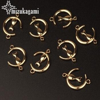 28mm zawieszki ze stopu cynku wisiorek złoty Hollow księżyc kot kształt Charms złącze dla naszyjnik DIY tworzenia biżuterii znalezienie akcesoria