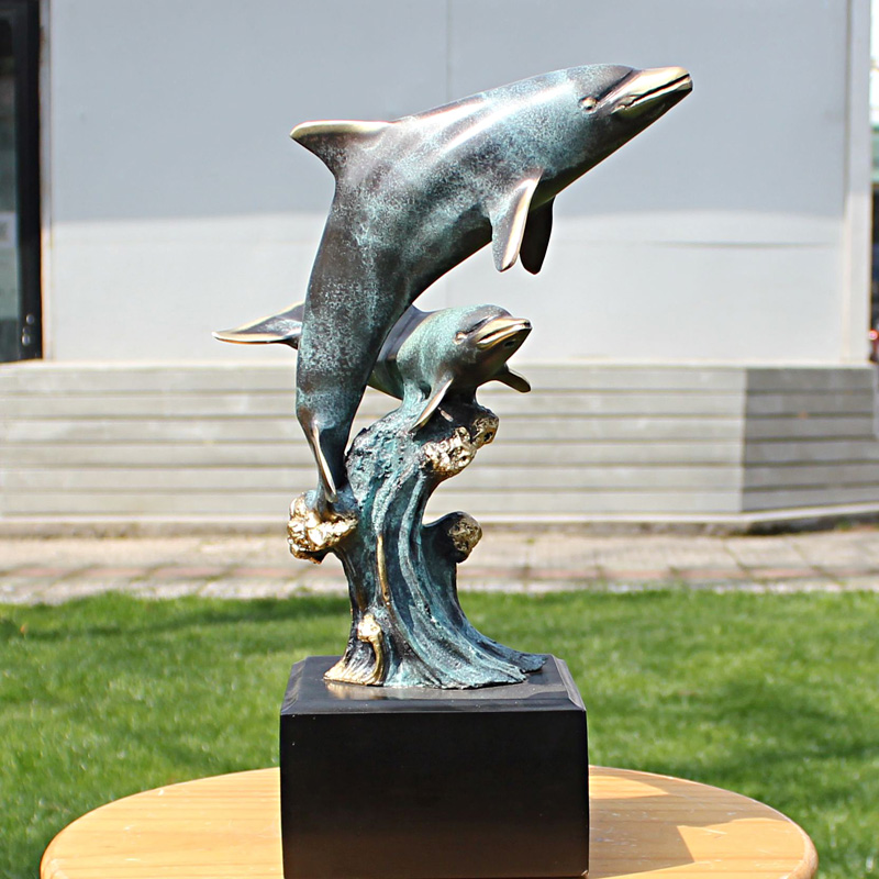 De Double Dolphin sculptuur ambachten koperen ornamenten - Huisdecoratie - Foto 1