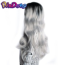 DinDong Lace Front Wig Synthetic Long Wavy Heat Resistant Synthetic Wig Ombre Grey For Cosplay Party Hair Style 26'' 28''(China)