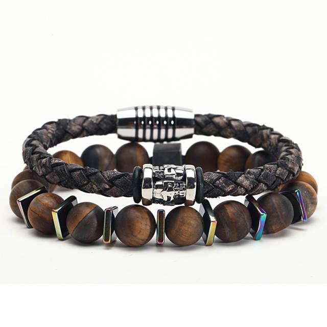 97f826f11a04d € 3.83 13% de réduction|Mcllroy Bracelet hommes/cuir/perles de pierre/acier  inoxydable/hommes bracelet amitié hommes bracelets 2018 bijoux cadeau ...