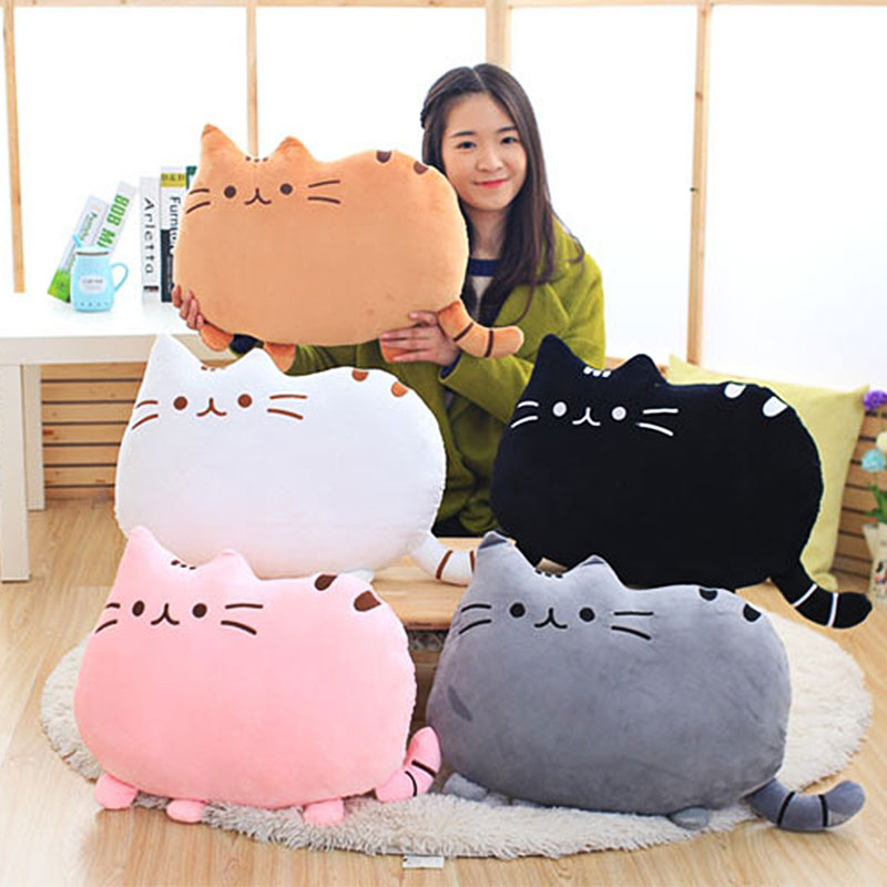 Cartoon Cat Plush Doll Back Cushion Lumbar Decorative Throw Pillow Smiley Face Seat Cushion Stuffed Kids Room Decoration