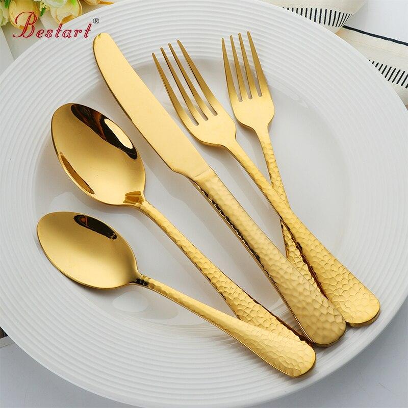 1 lot/20 Pcs Goldene Überzogene Besteck Set 18/10 edelstahl Schwarz Abendessen Gabel Dining Messer Esslöffel Geschirr Set bestecke-in Geschirr-Sets aus Heim und Garten bei  Gruppe 1