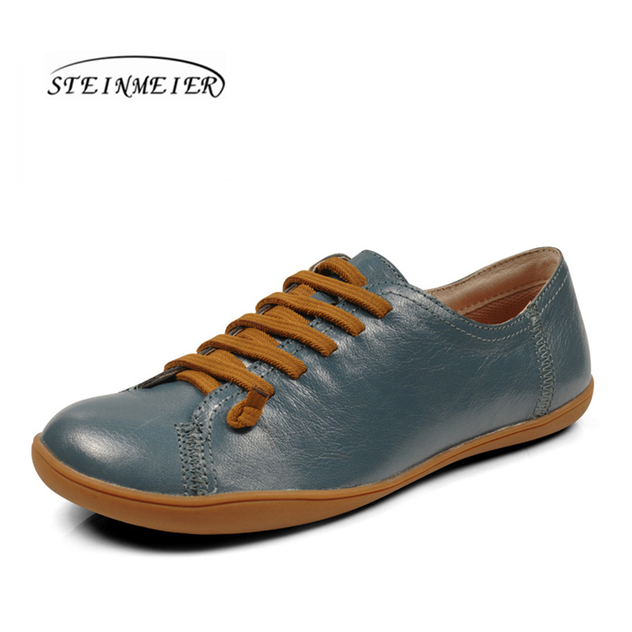 Steinmeier Women sheepskin Leather casual shoes breathable flat round toe loafers for woman sneakers leisure comfortable shoes summer women casual shoes breathable mother shoes women flat platform soft comfortable braided shoes light loafers for woman