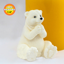 Silica gel Polar bear make a wish mold Food grade mould silicone molds for soap moulds animal candle