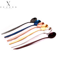 XEJONR 6 Colors Coffee Scoops Sets Long Handle Stainless Steel Use For Coffee Ice Cream Tea Fruit Coffeeware Scoops Kitchen
