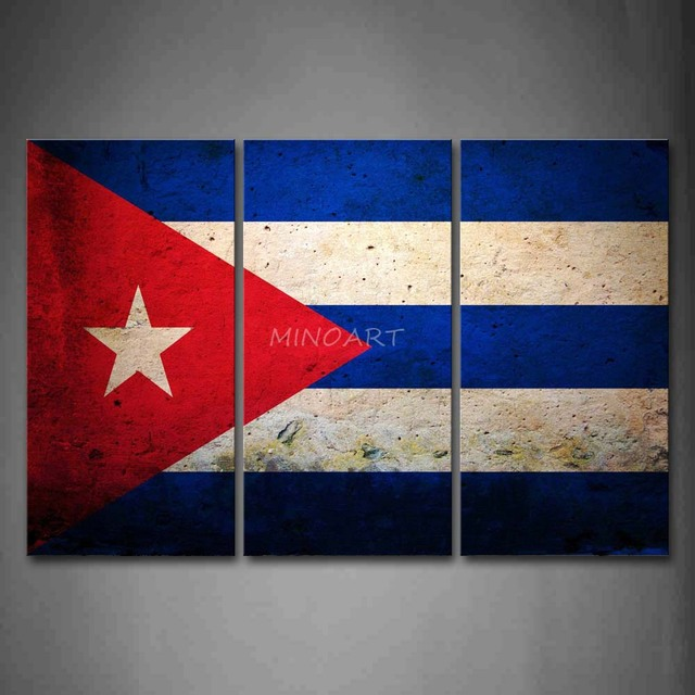 3 Piece Wall Art Painting Flag Of Cuba In Red White And Blue Picture ...