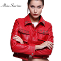 Red Motorcycle Rivets Leather Jacket Women New 2017 Spring Single Buttons Short Bikers Slim Casual Two Pockets SK207