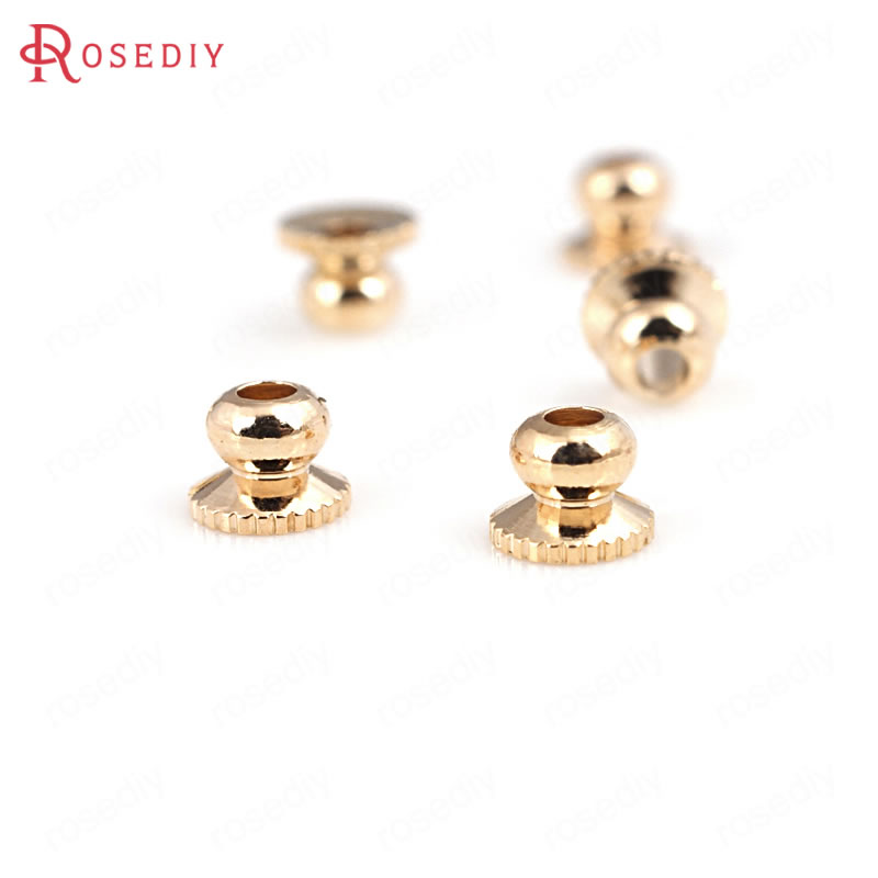 20PCS 4x3MM 24K Champagne Gold Color Plated Brass Beads Caps High Quality Diy Jewelry Accessories