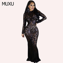 MUXU autumn red sequin dress maxi vestido long sleeve womens clothing vestidos mujer robe vetement femm longos