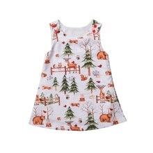 Christmas Baby Clothing Santa Tree Deer Print Dress Baby Girls Dress Sleeveless Party Xmas Dresses Clothes