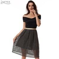 Winter Dress Women Dress 2017 Black White Apricot Slash Neck Lurex Mesh Short Sleeve Cute Girl