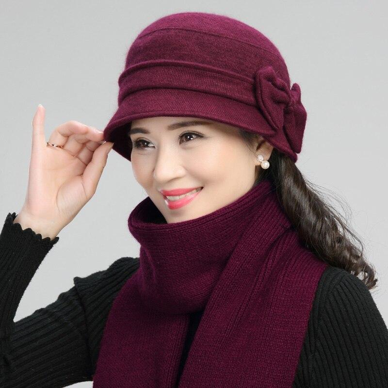 Middle-aged Mother Hat Female Autumn Winter Rabbit Wool Cap Lady Warm Grandma Scarf Women Fashion Elegant Bowknot Hats H7166