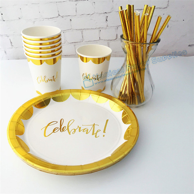 40 Sets Foil Gold Celebrate Tableware Metallic Gold Paper Plates Cups Napkins for Great Gatsby 30th  sc 1 st  AliExpress.com & 40 Sets Foil Gold Celebrate Tableware Metallic Gold Paper Plates ...