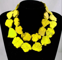Elegant Choker Woman Jewelry Bling Yellow stone Slice Necklace Handmade Gift Exaggerate Woman jewelry Charm