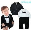 Малыш младенческая baby boy господа свадебные одежда набор черный галстук-бабочку с длинным рукавом ползунки + куртка костюм menino де roupas де bebe
