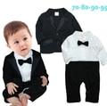 Infant Toddler bebé señores de la boda fijaron negro pajarita de manga larga romper + traje de chaqueta menino de roupas de bebe