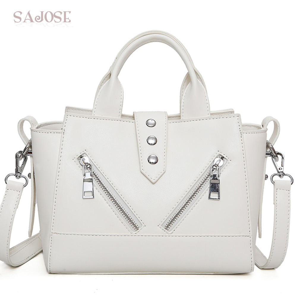 Women PU Leather Handbag Lady Totes Bag Famous Brand Fashion Simple White Designer Women's Shoulder Messenger Bags Drop Shipping bailar fashion women shoulder handbags messenger bags button rivets totes high quality pu leather crossbody famous brand bag