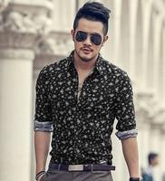 2016 New Spring Fashion Men Clothes Flower cotton Slim Fit Men Long Sleeve Shirt Men Flax