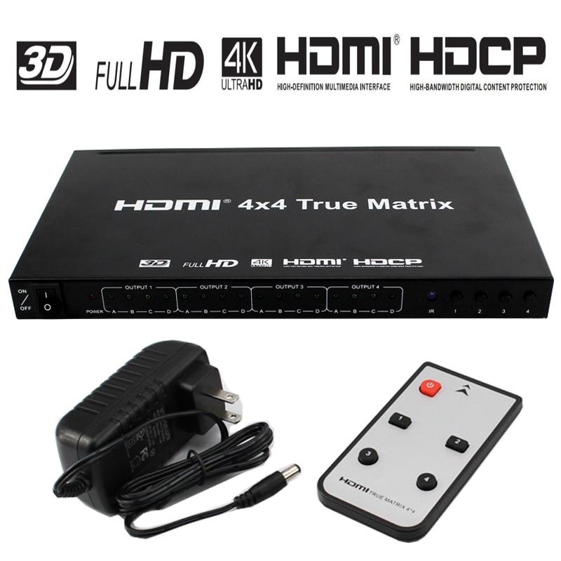 HDMI Matrix 4x4 4 K x 2 K 4 entrées 4 sorties répartiteur Hdmi avec résolution à 4 K * 2 K prise en charge 3D 1080 P prise en charge IR Romote contrôle 4 K HDMI