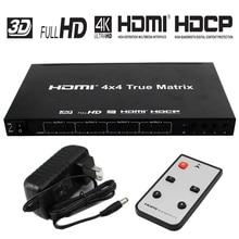 HDMI матрица 4×4 Hdmi разветвитель с разрешением до 4 к * 2 к Поддержка 3D 1080 P с пультом дистанционного управления + адаптер питания