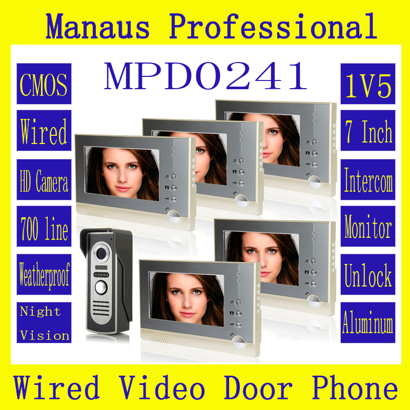 Professional 7 inch Wired Video Door Phone Door bell for Home Security IR Camera,One to Five Video Doorphone Doorbell D241a 7 inch video doorbell tft lcd hd screen wired video doorphone for villa one monitor with one metal outdoor unit night vision
