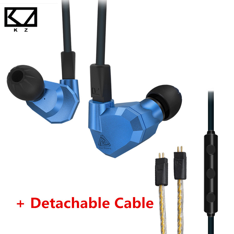 KZ ZS5 Double Hybrid Dynamic Sport Earphone Four Driver In Ear Headset Noise Isolating HiFi Music Earbuds With Detachable Cable kz ates ate atr hd9 copper driver hifi sport headphones in ear earphone for running with microphone game headset