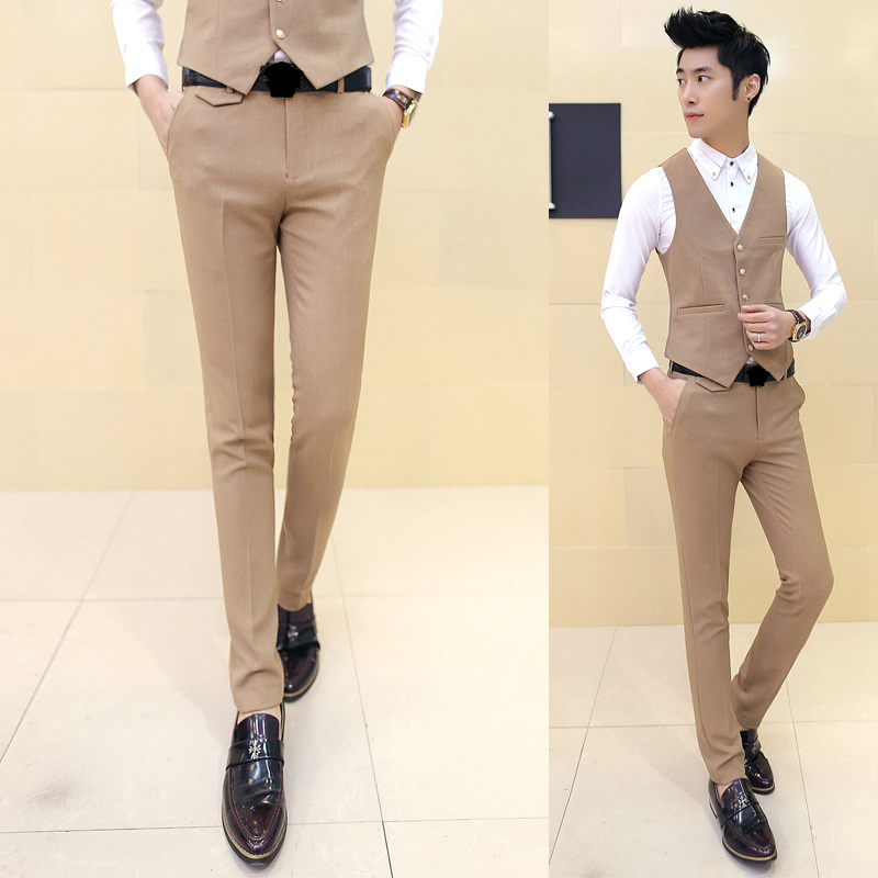 2019 Men's Boutique Cotton Fashion Pure Color Wedding Dresses Suit Pants / Male Premium Brand Slim Business Suit Pants Trousers|suit pants|slim suit pants|wedding pants - title=
