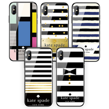 Kate Spade Нью-Йорк закаленное стекло телефонные чехлы для Apple iphone XR XS MAX X 6 6s 7 8 Plus
