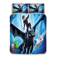 How to train your dragon 3D printed children bedding set blue Duvet Covers Pillowcases twin full queen king 3d quilt cover sets