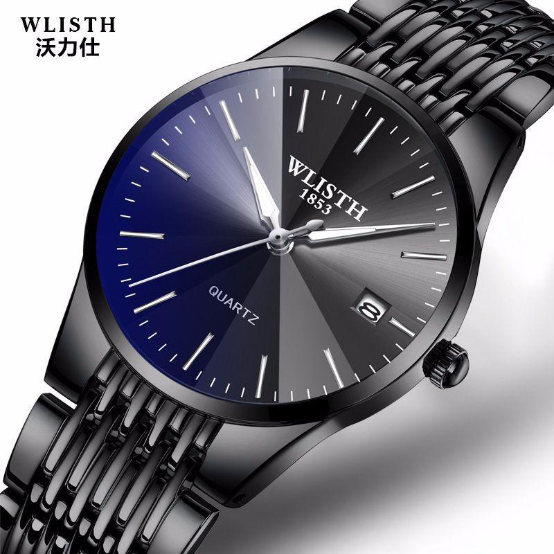 WLISTH Brand Luxury Men's Quartz Watch Men Waterproof Ultra Thin Analog Clock Male Fashion Sport Watches Black Men 34mm Women 22