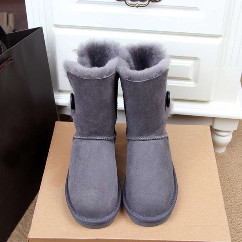 цена на Button Snow Boots Women Waterproof Winter Warm Australia Brand Wool Thick Platform Leather Solid Color Casual Botas Mujer