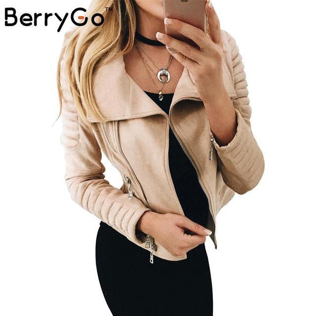 BerryGo Короткий тонкий основные куртки женщины пальто куртки женщины Искусственной кожи замши верхняя одежда и coatsWinter 2016 осень уличной