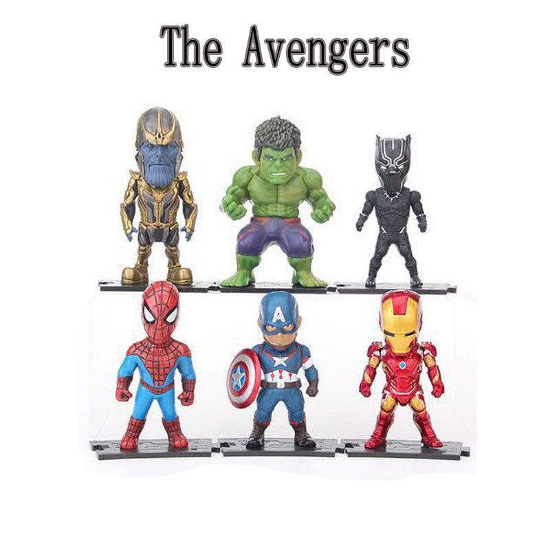 9-11cm 6PCS/Lot  Marvels The Avengers Thanos Action Toy Cartoon Model Collection Toys Children Chirstmas Jouet