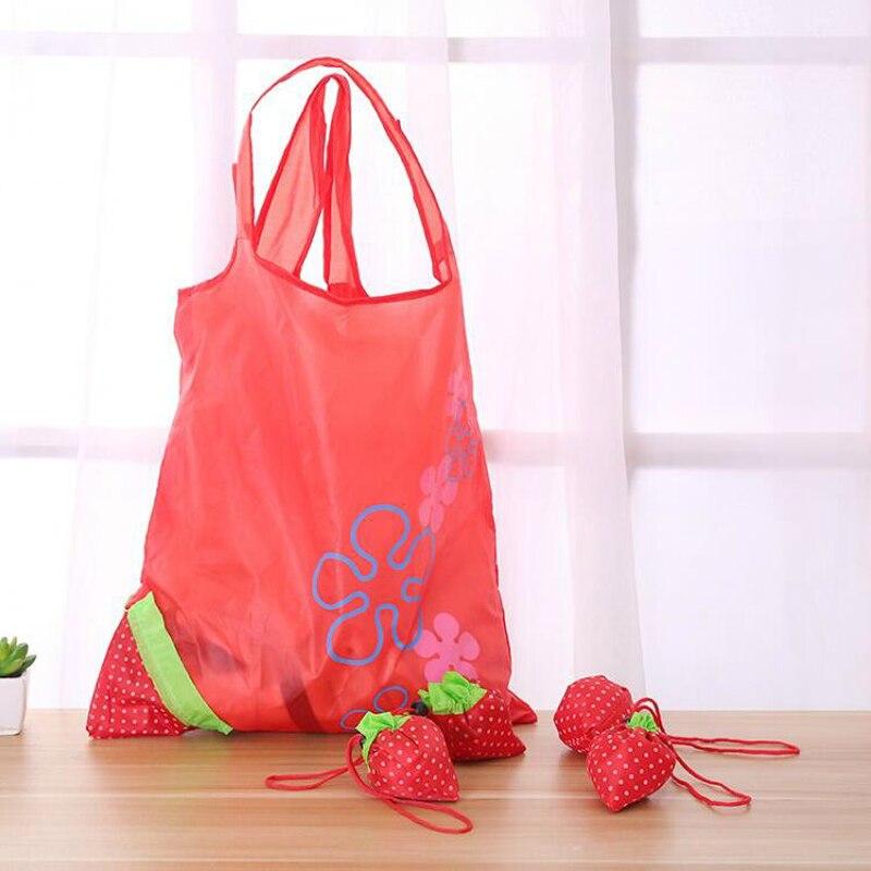 050 Mode Umwelt Einkaufstasche Strawberry Faltbare Einkaufstaschen Wiederverwendbare Falten Lebensmittelgeschäft Nylon Große Tasche 38*53 Cm