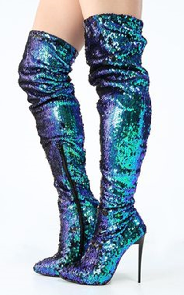 Women Glittering Peacock Green Sequin Mermaid Thigh High Boots Bling Bling Paillette Dress Boots Chic Over-the-Knee Boots US10 ...