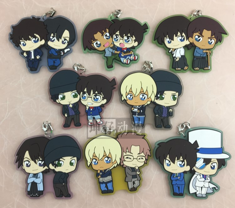 Conan Anime Detective Conan Jimmy Kudo Kaitou Kiddo Hattori Heiji CP Ver Japanese Rubber Keychain 5pc conan action figure detective conan doll boxes high quality toy anime action figure garage kits gift of mini conan model