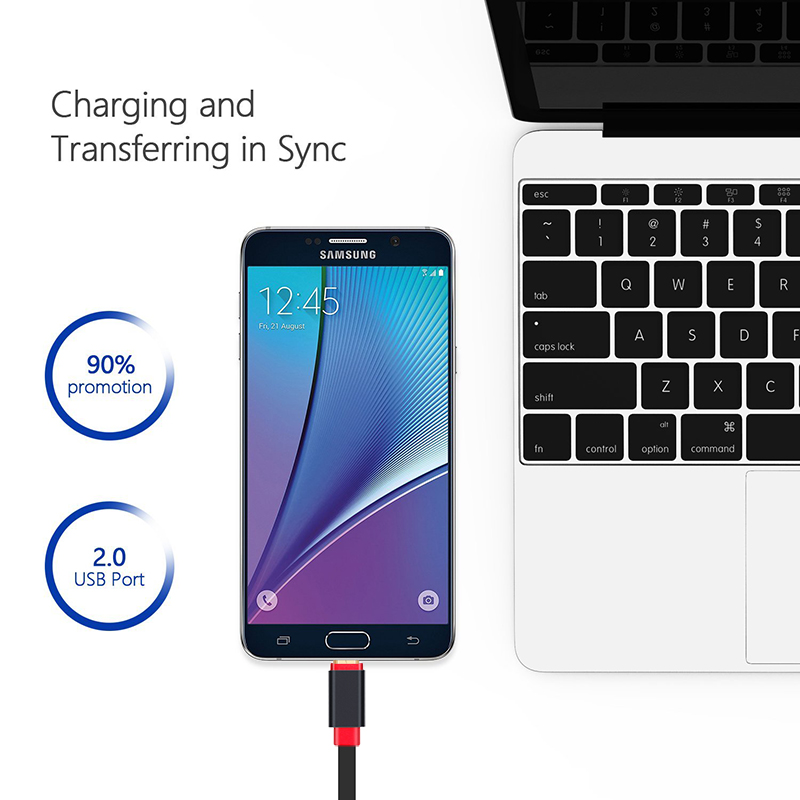 Lungfish Micro USB Cable 2.0 Charger & Sync 2 in 1 Flat Noddle Design 0.3m 1m 1.5m 2m 3m  For Android phones for Lenove/MP3