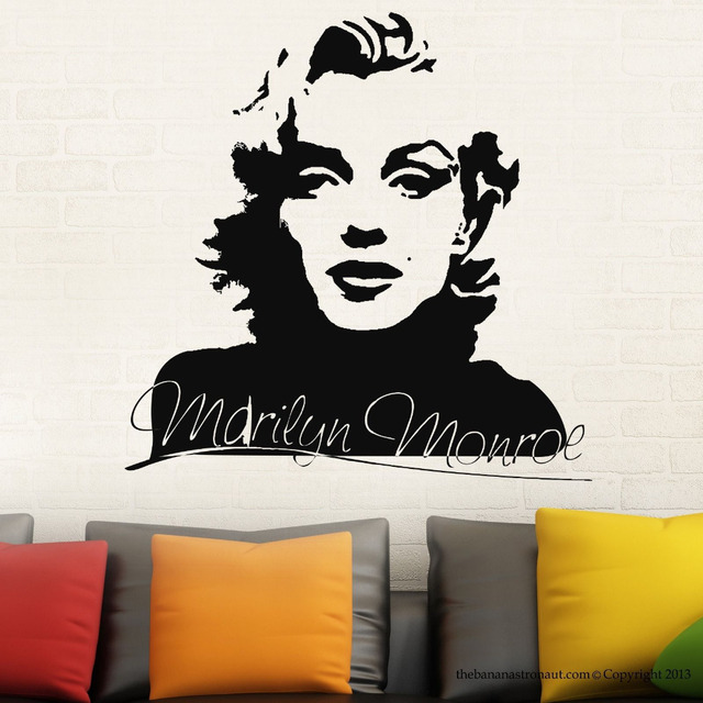 Sexy Marilyn Monroe Wall Decal Stickers Home Decor Easy Removable Sticker  Waterproof Wallpaper D187