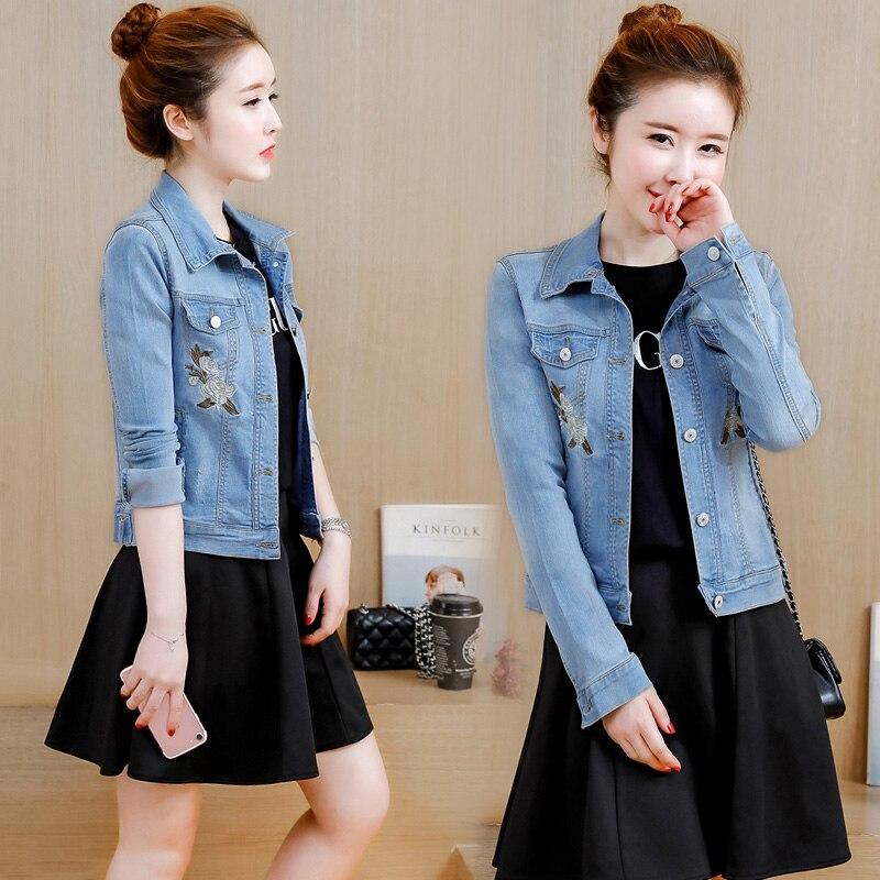 2018 printemps femmes Denim veste grande taille S-3XL Vintage recadrée courte Denim manteau à manches longues Jeans manteau Cardigan bleu clair/profond