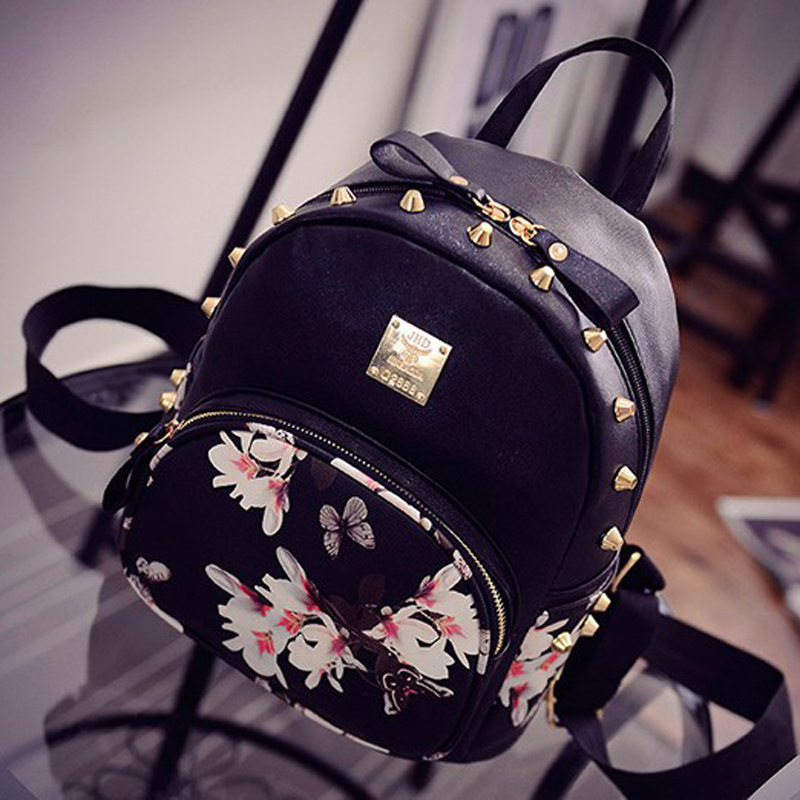 5743b9d43c6 US $23.8 |Butterflies in Love with Flowers Hot sale Summer 2017 famous  designer women's bag women leather backpacks girl school travel bag-in ...