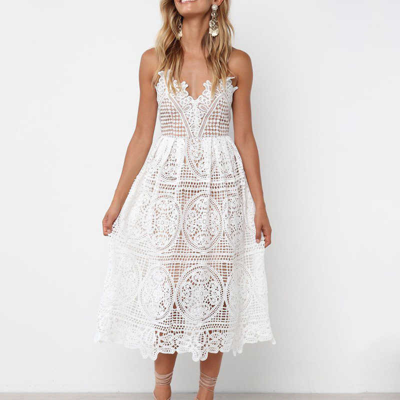 Summer White Sexy openwork lace beach boho dress robe femme 2019 Women vestidos Sexy harness Long casual dress Womens Dresses
