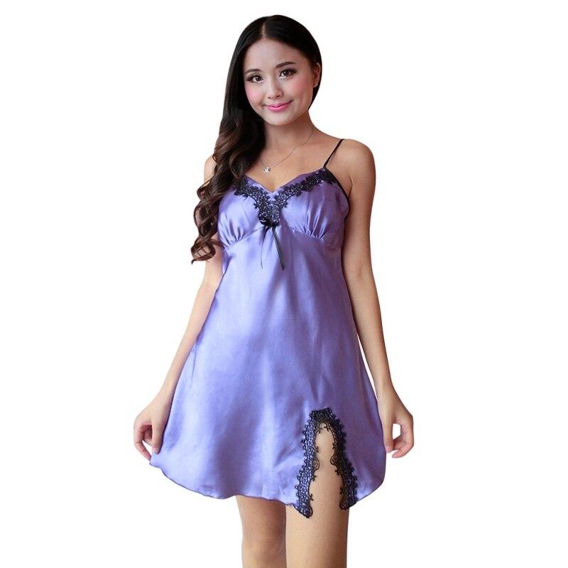 Women Sleeveless Sexy Silk Satin Night Dress V-neck Nightgown Plus Size Nightdress Lace Sleepwear Nightwear