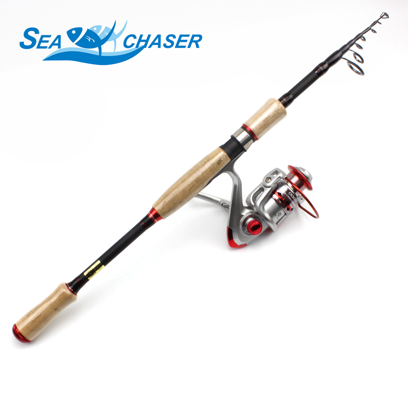 2 1m 2 4m 2 7m wooden handle Spinninglure Rod and Spinning Reels Set carbon fishing