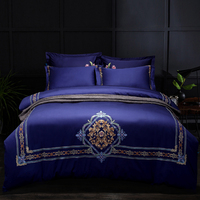 Blue green egyptian cotton embroidery luxury Bedding Set queen king size bed set soft Bedsheets linen wedding Duvet cover set 40